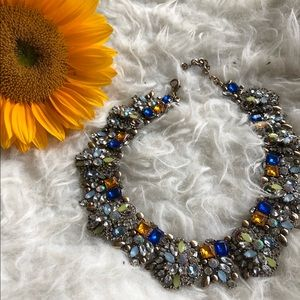 Rhinestone statement necklace bib blue